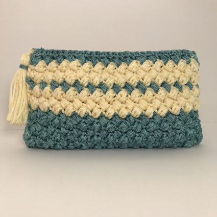 Hand bag Double Stripes, Green Yellow