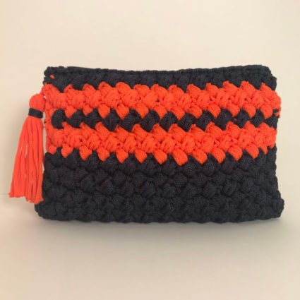 Hand bag Double Stripes, Blue Orange