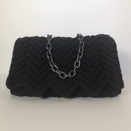 Handmade shoulder bag, Φάκελος, Margi, Black